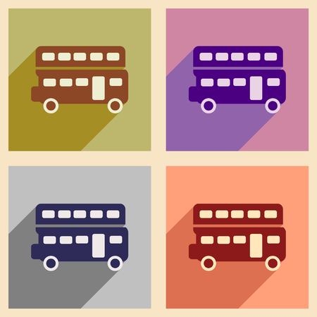 double decker: Set of flat icons with long shadow double decker bus