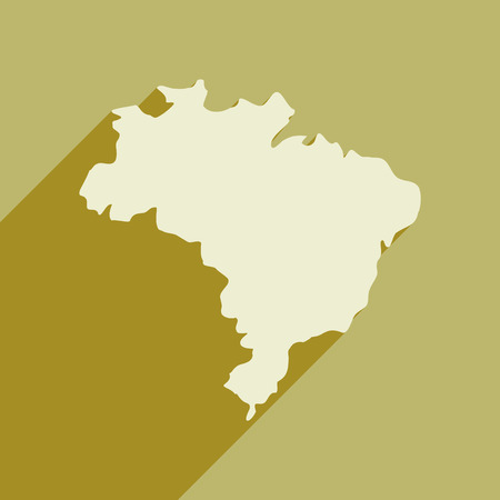 delineation: flat icon with long shadow map of Brazil