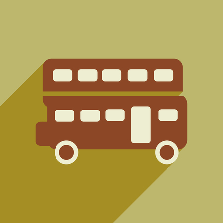 double decker: flat icon with long shadow double decker bus