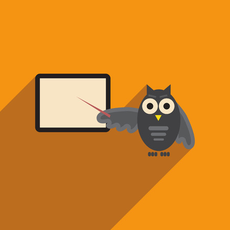 scholarly: flat icon with long shadow owl teacher