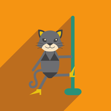 striptease: flat icon with long shadow cat cartoon