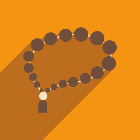 rosary: flat icon with long shadow Arab rosary