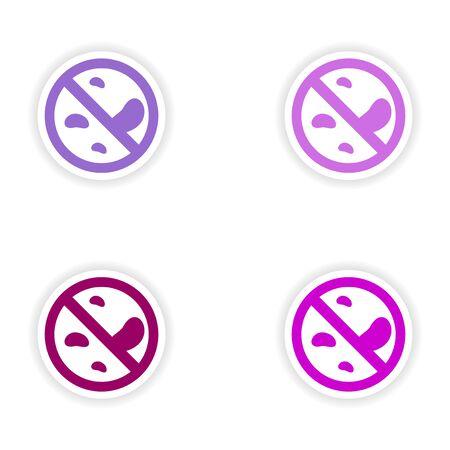 penicillin: assembly realistic sticker design on paper bacteria