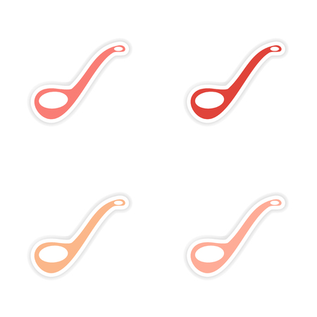 ladle: assembly realistic sticker design on paper ladle Illustration