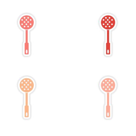 strainer: assembly realistic sticker design on paper strainer Illustration