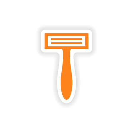 shaver: icon sticker realistic design on paper shaver