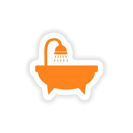 hot tub: icon sticker realistic design on paper bathtub