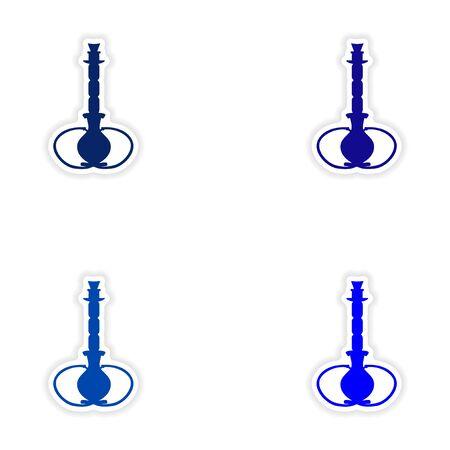 shisha: assembly realistic sticker design on paper hookah shisha Illustration