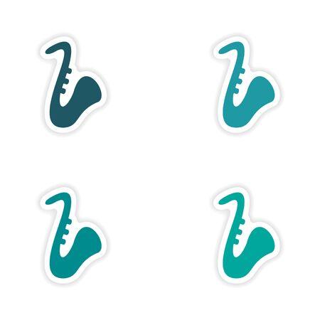 saxophones: assembly realistic sticker design on paper saxophones