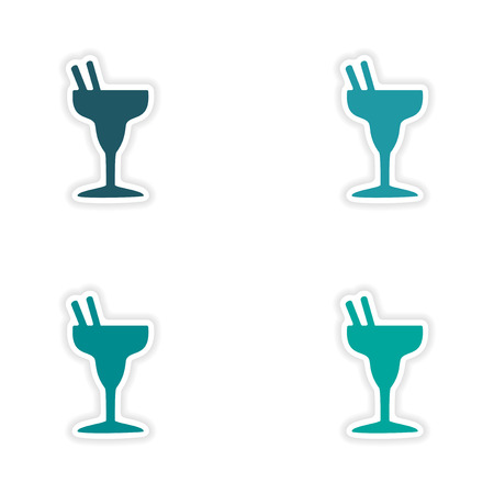 colada: assembly realistic sticker design on paper cocktails