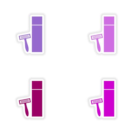 shaver: assembly realistic sticker design on paper shaver