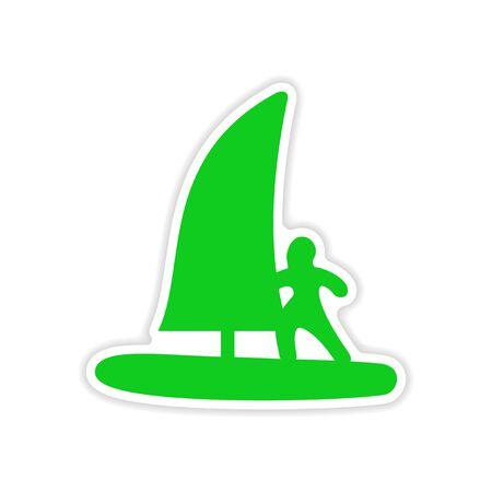 windsurf: icon sticker realistic design on paper windsurfing