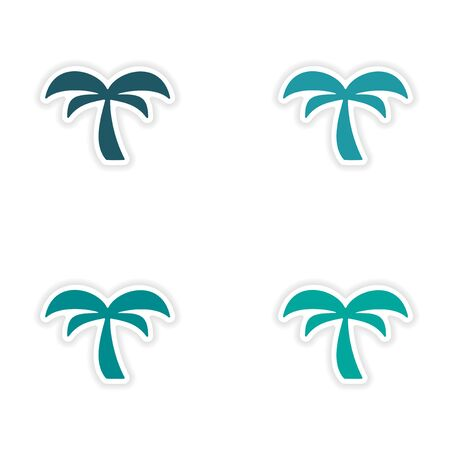 tree drawing: assembly realistic sticker design on paper palm tree