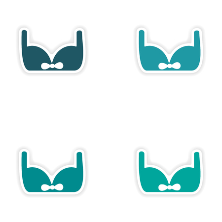 brassiere: assembly realistic sticker design on paper brassiere Illustration