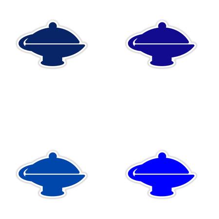 figura: projeto da etiqueta montagem realista sobre bule papel oriental Ilustração