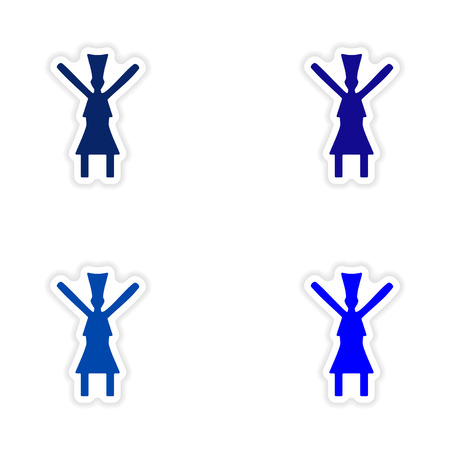 traditional dance: assembly realistic sticker design on paper traditional dance