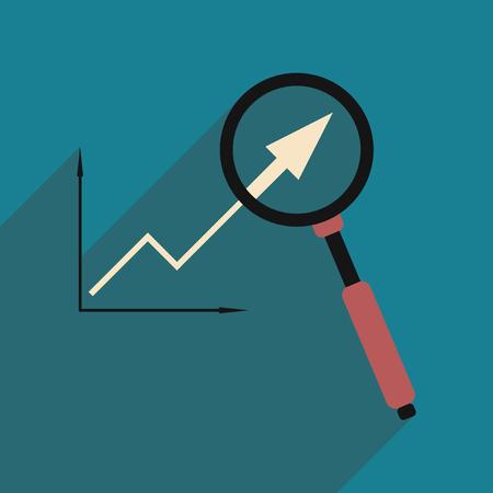 Plat met schaduw pictogram Economische grafiek en zoom Stock Illustratie