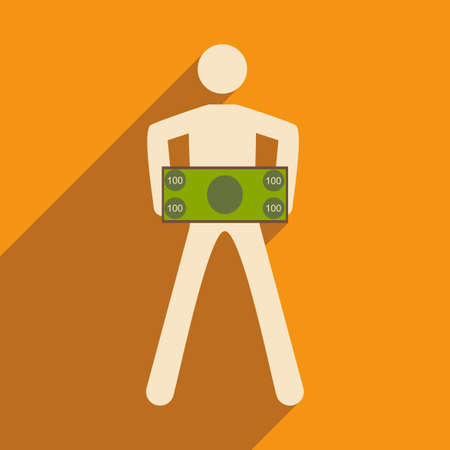 shadow people: Modern flat icon with shadow People and dollar