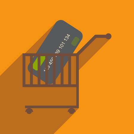 bank cart: Modern flat icon with shadow bank card in the cart Illustration