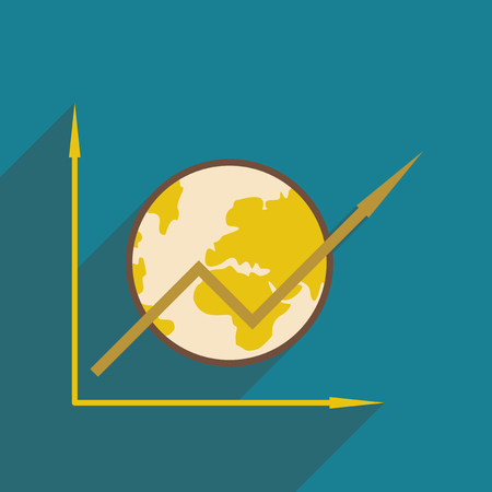 investment concept: Flat design modern vector illustration icon globe and graph