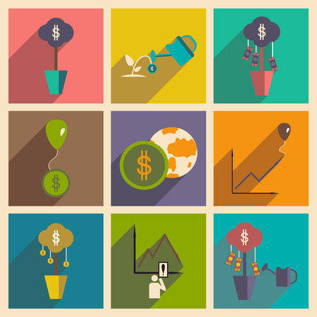 income: Modern flat icons vector collection with shadow economy money income