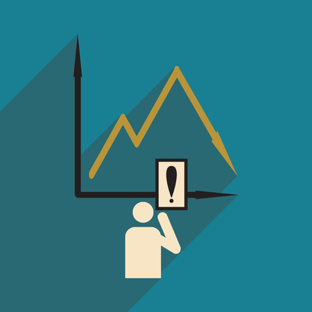 plunge: Flat design modern vector illustration icon falling graph and people