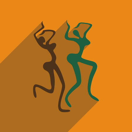 exotic dancer: Flat web icon with long shadow Brazilian dancer Illustration