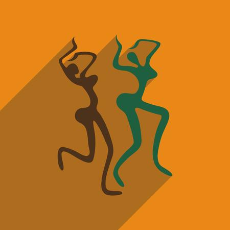 exotic dancer: Flat web icon with long shadow Brazilian dancer Illustration