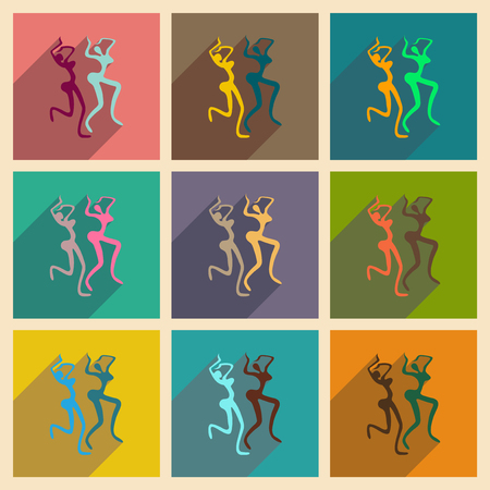exotic dancer: Concept of flat icons with long shadow Brazilian dancer