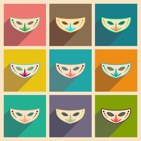 masque: Concept of flat icons with long shadow Carnival mask