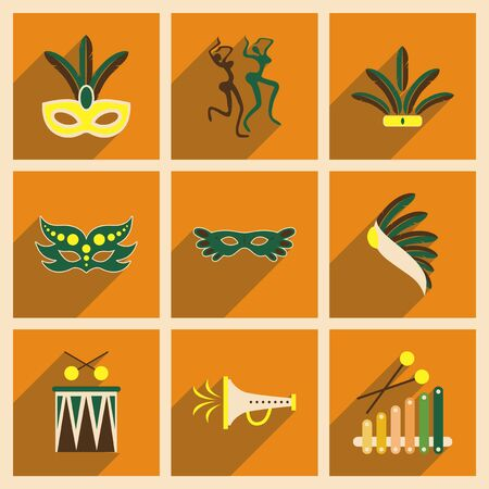 brazilian caribbean: Concept of flat icons with long shadow Brazilian Carnival