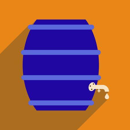wood creeper: Flat web icon with long shadow keg of beer Illustration