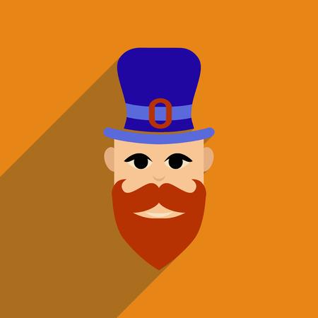 patrik day: Flat web icon with long shadow Irish man