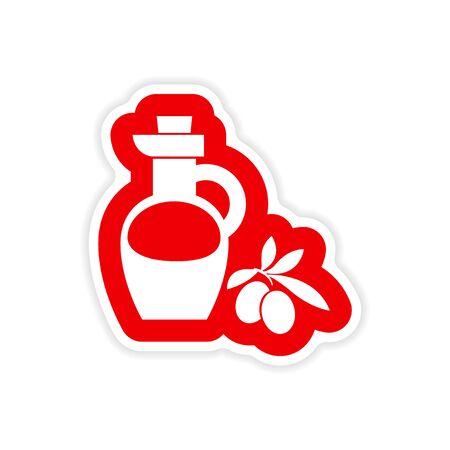 cruet: paper sticker on white background olive oil