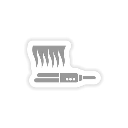 stylish paper sticker on white background hair iron