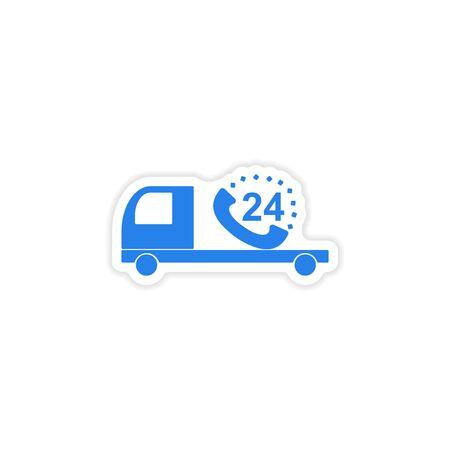 around the clock: icon sticker realistic design on paper Truck service around clock