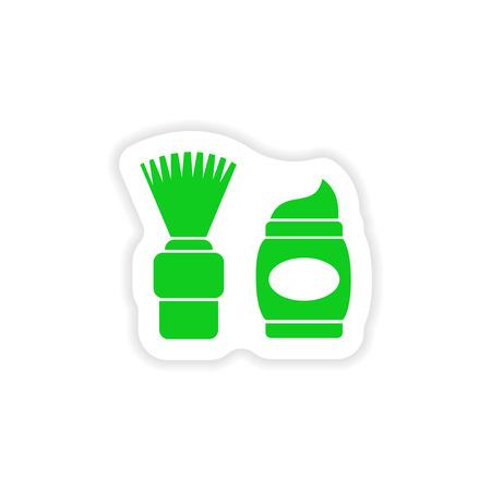skim: stylish paper sticker on white background shaving foam