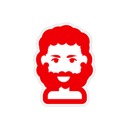 style goatee: paper sticker on white background mens haircut