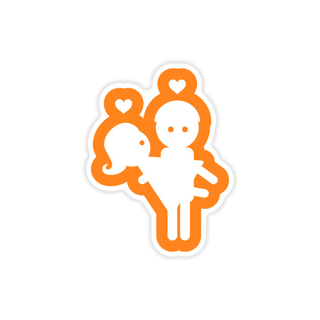 carries: paper sticker on white background man carries Woman Illustration