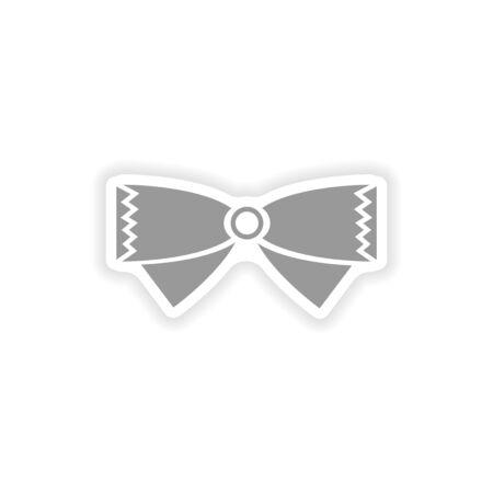 bowtie: stylish paper sticker on white background bow-tie