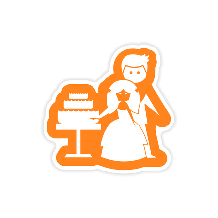 wed beauty: paper sticker on white background Bride Groom Cake
