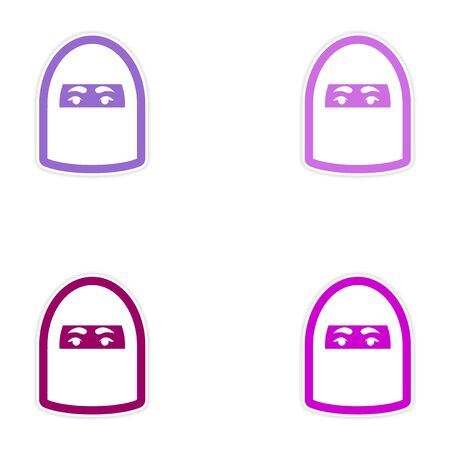 burqa: Set of paper stickers on white background woman in burqa Illustration