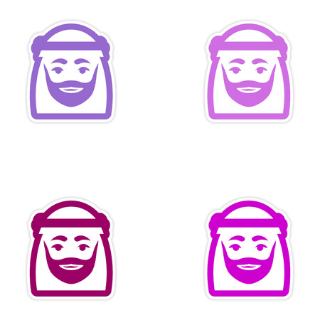 arab adult: Set of paper stickers on white background Arab men Illustration