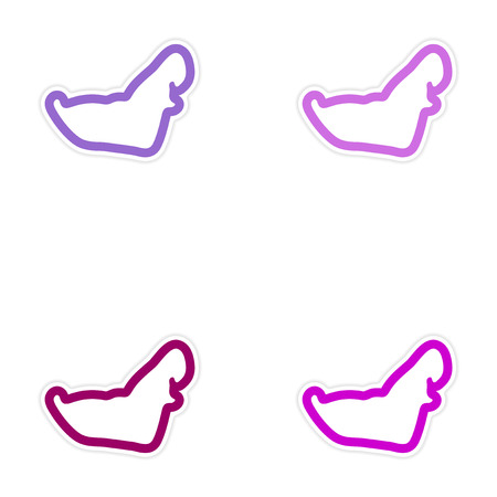 delineation: Set of paper stickers on white background Arab men Illustration
