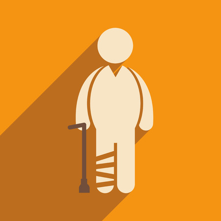 axillary: Modern flat icon with long shadow People leg fracture Illustration