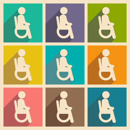 physical impairment: Modern flat icons collection with long shadow People wheelchair Illustration