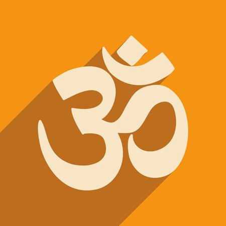 icone plat moderne avec ombre signe om indien Vecteurs