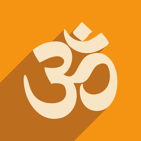 ohm symbol: Modern flat icon with long shadow Indian om sign
