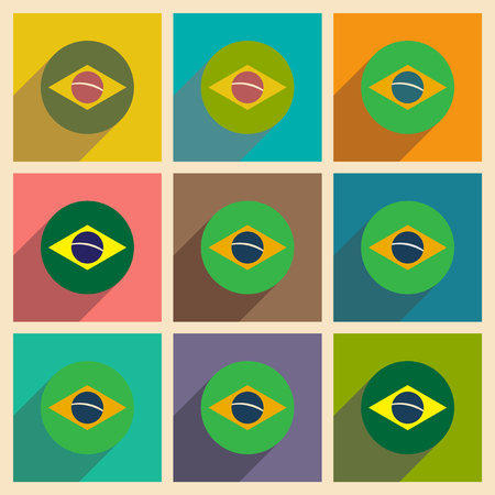 brazilian flag: Set of flat icons with long shadow Brazilian flag