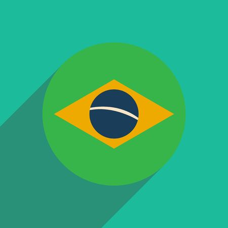 brazilian flag: flat icon with long shadow Brazilian flag Illustration